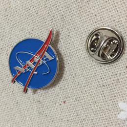 Wholesale Clothes Pin Wholesale - 10pcs NASA Planet Pin Badge for Space Center Uniform Clothing Polo Jacket Shirt Wholesale Tactical Brooches Lapel Pins
