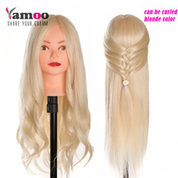 Wholesale Training Head Human Hair Blonde - 40 % Real Human Hair 60 cm Training Head blonde For Salon Hairdressing Mannequin Dolls professional styling head can be curled