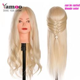 echte menschliche haare mannequin köpfe Rabatt 40% Echtes Menschenhaar 60 cm Trainingskopf blond Für Salon Friseur Schaufensterpuppe Puppen professionelle Styling Kopf kann gewellt werden