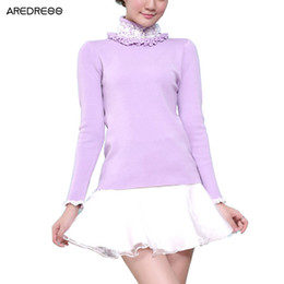 Wholesale Pull Girl - Wholesale-Lace Turtleneck Knitted Women Korean Sweaters And Pullovers Cute Winter Christmas Sweater Girls Warm Knitwear Pull Femme