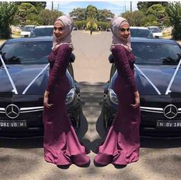 2019 robe de soirée hijab Nouveau Superbe À Manches Longues Robes De Soirée Musulmanes Robes De Bal Hijab Robe De Soirée Sirène Longue Formelle Robe De Soirée robe de soirée hijab pas cher