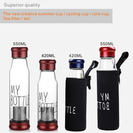 Wholesale Cups Cover Glass - 420-550ml Creative Insulation Mug, High-quality Borosilicate Glass and 304 Stainless Steel Cup Cover is Equipped With a Bottom Cover + Coat.