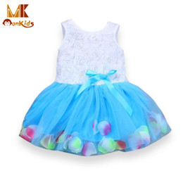 Wholesale Monkids Girls Dresses Lace Flower tutu Girl Dress Blooms Bowknot Tulle Kids Baby Girl Dress Children Clothing Clothes