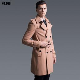 Wholesale Long Wool Coat Slim Camel - Wholesale- Woolen overcoat male 2016 latest fall autumn double breasted fashion medium long plus size wool trench coat camel slim jacket