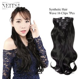 Wholesale 1b Wavy Clip Extensions - Neitsi 20'' Wavy Clip in Hair Extension 7PCS SET Body Wave 140g set Full Head Curly Hair Weft Clip in (1B#)