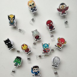 Wholesale Cell Phone Pets - 12pcs Batman Captain American Cartoon Retractable Lanyard ID Card Badge Holder Reels with Clip Keep ID Key Cell phone Safe