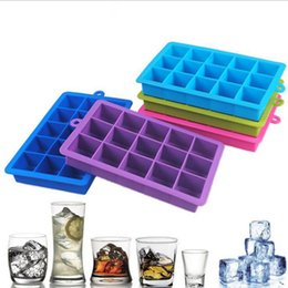 Wholesale Silicone Square Mould - 15 Grid Chocolate Ice Maker Tray Ice Cube Mold Silicone DIY Mould Square Shape Silicone Ice Tray Kitchen Bar Tools OOA3791