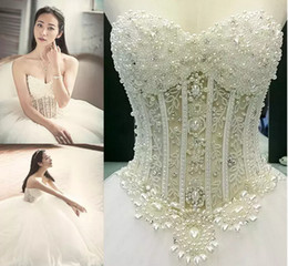 Wholesale Long Sleeve Corset Wedding Gown - 2017 Shiny Luxury Beads Pearls Wedding Dresses Ball Gowns Chapel Tulle Sweetheart Sleeveless Sheer Corset Bodice Queen Bridal Gowns