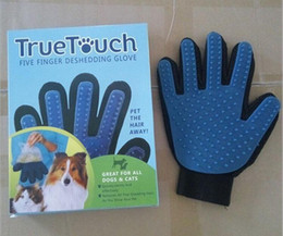 Wholesale Deshedding Tools - New Arrival Deshedding Pet Glove True Touch For Gentle And Efficient Grooming Removal Glove Bath Dog Cat Brush Comb DHL FEDEX