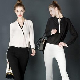 Wholesale Black Linen Blouse - Women Fashion Casual Tops Lace Patchwork Chiffon Blouse Shirt Long Sleeve Shirt Office Lady Blouse Free Shipping