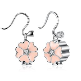 Wholesale Clover Diamond Earrings - 100% Real 925 Sterling Silver Clover Heart-shaped Diamond Earrings Earrings Women DIY Jewelry Inlaid CZ Zirconia Fashion Cute Pink Earrings