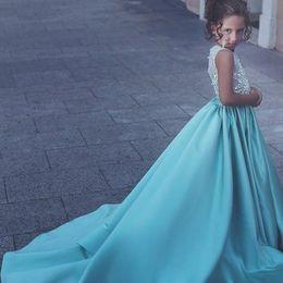 Wholesale Girls Bodice - Pretty Blue Princess Girls Pageant Dresses Crew Neck Sleeveless Illusion Bodice Appliques Beaded Satin Flower Girls Dresses For Weddings