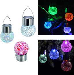 Wholesale Yard Glasses - NEW Led light ball Crackle Glass LED warm  Color Light Solar Powered Color Changing outdoor Hang Garden Lawn Lamp Yard Decorate Lamp