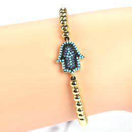 Wholesale Rhombus Beads - New Fashion Men 24K Gold Bracelet rhombus Design Bead Micro Pave CZ Hamsa Fatima Hand Bracelets Connector Braiding Macrame Bracelet JF