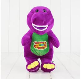 Muñecas de amor de felpa online-Canto Amigos Dinosaurio Barney Sing I LOVE YOU Plush Muñeca Juguete Regalo de Navidad Para Niños Juguetes de Dinosaurios 28 cm KKA2791