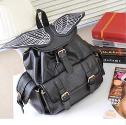 Wholesale Pocket Angels - 2017 new fashion trend women backpacks Korean style embroidery angel wings shoulders bag student school bag backpack