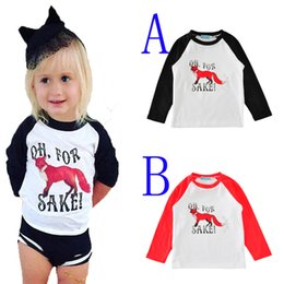 Wholesale Cute Toddlers - kids t-shirts cartoon animal long sleeve toddler boy t shirt 2017 autumn fashion cute fox little girl t shirts for baby clothes