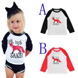 Wholesale Cartoon Baby Boy Clothes - kids t-shirts cartoon animal long sleeve toddler boy t shirt 2017 autumn fashion cute fox little girl t shirts for baby clothes