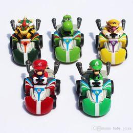 Wholesale Super Mario Doll Set - Super Mario Kart Pull Back Car Figures toy portfolio pvc toy plastic doll Kart 5pcs set
