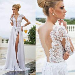 Wholesale Transparent Bodice Wedding Dress - Summer Bohemian Boho Wedding Dresses Backless Sheer Deep V Neck Transparent Lace Long Sleeve A Line Beach Bridal Dress Split Chiffon Vestido