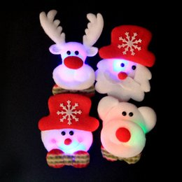 Wholesale Led Badge Light - LED Christmas Brooches 120pcs lot Snow man Santa Claus Elk Bear Pins Badge Light Up Brooch Christmas Gift Party decoration