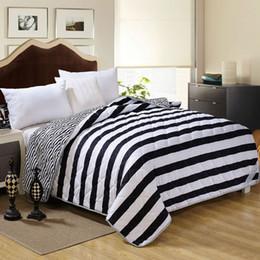 Wholesale King Single Doona - Wholesale- Black White Comforter Feather Velvet Filler Comforter Blanket Doona Duvet Stripe Stars Fabric Single Full Queen Size