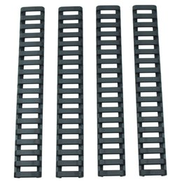 "Wholesale Quad Rail Ladder Covers - Armiyo 18 slot Snap-on 7"" Ladder 20mm Rail Rubber Cover Quad Airsofter Handguard Weaver Picatinny 4 Piece Set"