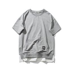 Wholesale korean xxl - Mens Fake Two Pieces Cotton Shirt Men Korean Fashion Style Grey Tee shirts 2017 Summer New Harajuku Tees Tops Male Size M-XXL