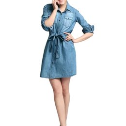 Wholesale Casual Dress Double Breasted Women - Wholesale- 2016 New autumn winter Dress Long Sleeve Single Breasted Women's Double Pocket Slim Waist Lacing Belted Denim Dress vestidos