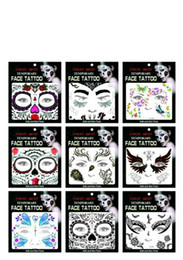 Wholesale Temporary Tattoo Shipping - 2017 New Safe Face Tattoos Face Temporary Tattoos Hallowmas Tattoos 9 Style Best Quality DHL Free Shipping