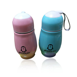 Wholesale Water Bottles For Children - Stainless steel insulation cup Penguin pattern 300ml Drinking Bottles cute Water Bottles for children Multicolor high quality