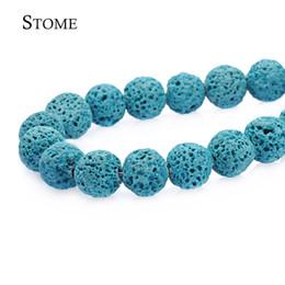 geschnitzte weiße perlen blume Rabatt Lose natürliche himmelblaue Lava Runde Perlen Edelstein 4-14mm Modeschmuck Strang für DIY S-085 Stome