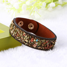 Wholesale Turquoise Flowers Accessories - New Fashion Jewelry Women Bangle Bracelet Adjustable Clasp High-grade Leather Bracelets Crystal Stones Jewelry Accessories Wholesale
