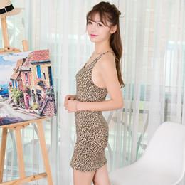 Mini vestido de seda barato online-Vestido delgado LYQ242 de seda de la leche del estilo del leopardo de la liga sexy del verano barato