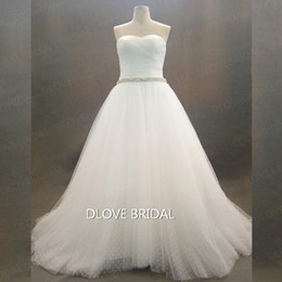 Wholesale Tulle Dot Ball Gown Wedding - Dot Tulle Lace Vestido De Novia Strapless Sweetheart Ball Gown Bridal Wedding Dresses with Crystal Beaded Belt Factory Custom Make