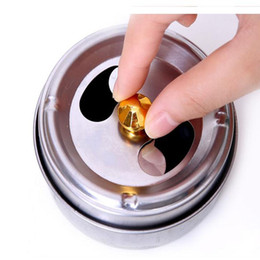 Wholesale steel ashtray - 10cm Stainless Steel Ashtray With Lid Rotation Closed Off Smoke Function Ashtrays Soot Barrel DHL Free Shipping