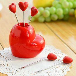 Wholesale Wholesale Resin Fruit - Beautiful Love Heart Shaped Fruit Fork Synthetic Resin & Stainless Steel Fruit Forks Tableware Cake Snacks Fork