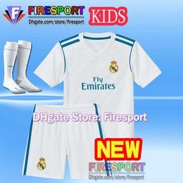 Wholesale Football Shirt Kids Kit - 2017 Real Madrid RONALDO kids soccer jerseys full sets with socks boys child kits 16 17 18 Home White Third JAMES BALE football shirts