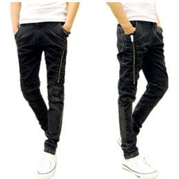 Wholesale New Korean Style Man Trousers - Wholesale- 2016 Time-limited Mid Coated Full Length New Arrival Summer Style Men Jeans Korean Slim For Zipper Ruched Denim Men's Trousers