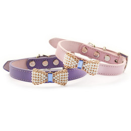 Wholesale princess dogs - armipet Pearl Bow Dog Collar Pets Puppy Princess Collars For Dog 6041023 Pet Products S M