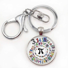 Wholesale Girl Colored Glass - Pion Spiral Round image key chains charm colored repeating decimals spiral round Pion art picture keychain math symbol Pi