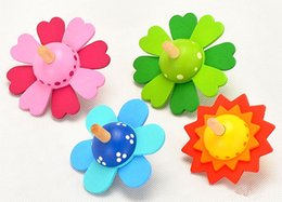 Wholesale Wood Spinning Toy Tops - Flowers spinning top Traditional wooden gyro educational toys Rotating little flower