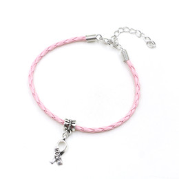 Wholesale Cancer Ribbon Charms For Bracelets - Wholesale-50pcs Hope Breast Cancer Awareness Ribbon Charm Pendant Leather Rope Cham Bracelet Fit for European Bracelet Handmade Craft DIY