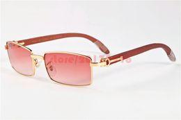 Wholesale Wood Framed Optical Glasses - 2016 Wooden Sunglasses Brand Designers Men Buffalo Sun glasses Full Rimless Optical Glasses Women Gold Wood Clear Lens Eyewear Frames