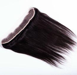 18 polegadas de cabelo malaysian on-line-Cabelo Humano 13x2 polegadas Cheia Do Laço Frontal Malaio Reta orelha a orelha Fechamento Frontal Do Laço Com Cabelo Do Bebê