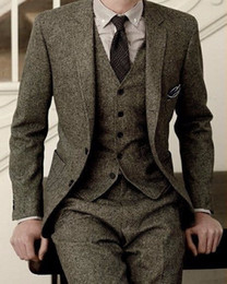 Wholesale Mens Plaid Vest - 2017 Latest Coat Pant Designs Gray Tweed Groom Tuxedos 3 Piece Slim Fit Mens Wedding Prom Dinner Suits(Jacket+Pants+Vest) terno