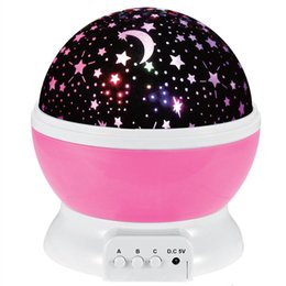 Wholesale Kids Night Lights Stars Moons - 360 Degree Rotating Night Light Romantic Cosmos Star Projector Light Starry Moon Sky Night Projector Kid Bedroom Lamp With USB Cable