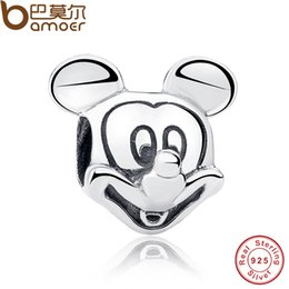 Wholesale Tv Shaped Gifts - Pandora Style Gift 925 Sterling Silver Lover Cute Mickey Shape Charms and beads Fit Bracelet & Necklace Jewelry Accessories PAS196
