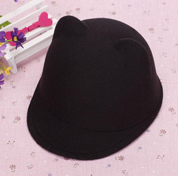 Wholesale Ladies Woolen Caps - New arrival Autumn and winter cat ears like woolen equestrian cap bear ears lady hat ceremony cap WMB007