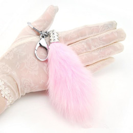 Wholesale Leather Toy Animals - Brand New Fashion Lovely Fluffy Fur Tail Keychain Women Trinket Rabbit Fur Keyring Female Toy Doll Girls Bag Charms Key Ring Gift
